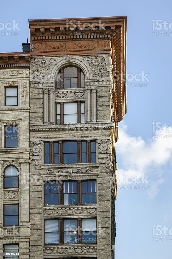 Architectural details on Soho building, Manhattan, New York royalty-free stock photo