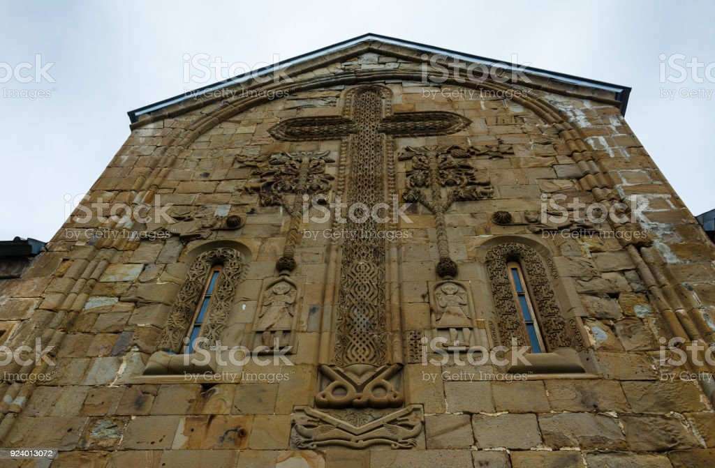 Architectural Details On Wall Of The Gergeti Trinity Church. Tsminda Sameba. stock photo