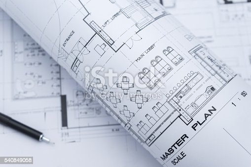 istock architectural drawing paper rolls of a dwelling for construction 540849058