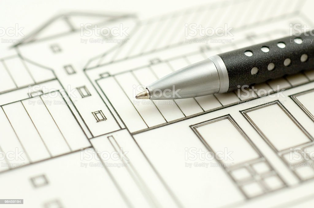 Architectural Drawing & Pen royalty-free stock photo