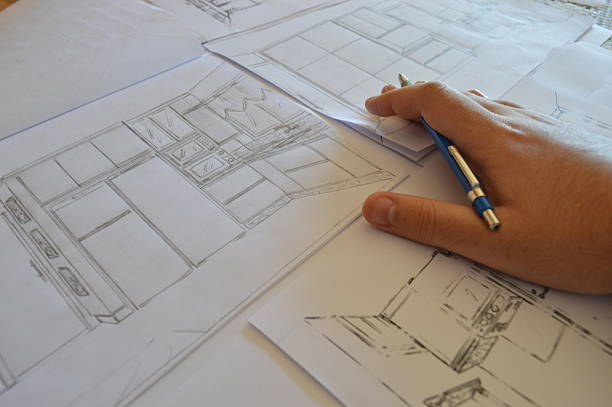 architectural drawing series stock photo