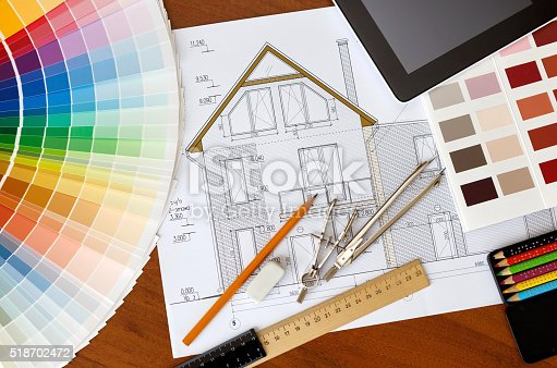 istock architectural drawing, Two color palette guide, pencils and rule 518702472
