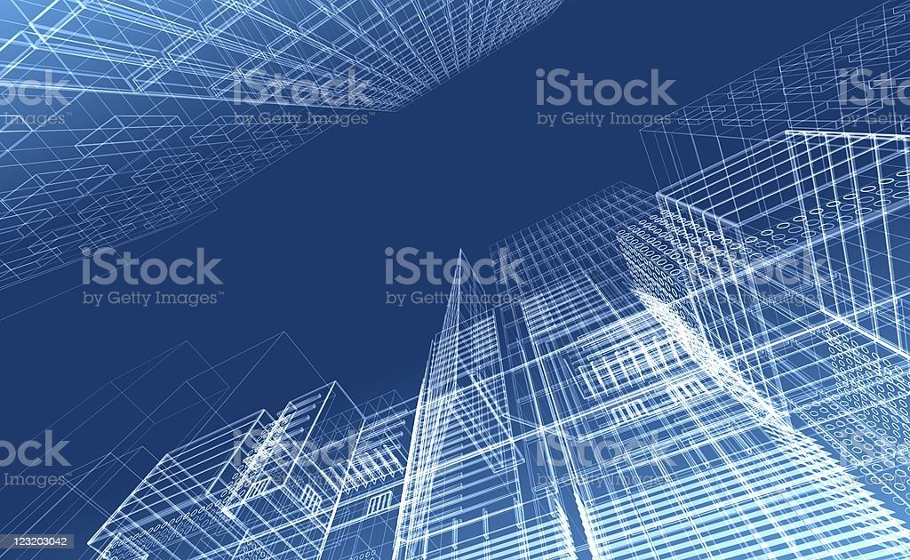 Architectural drawing - wireframe render royalty-free stock photo