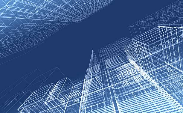 Architectural drawing - wireframe render stock photo