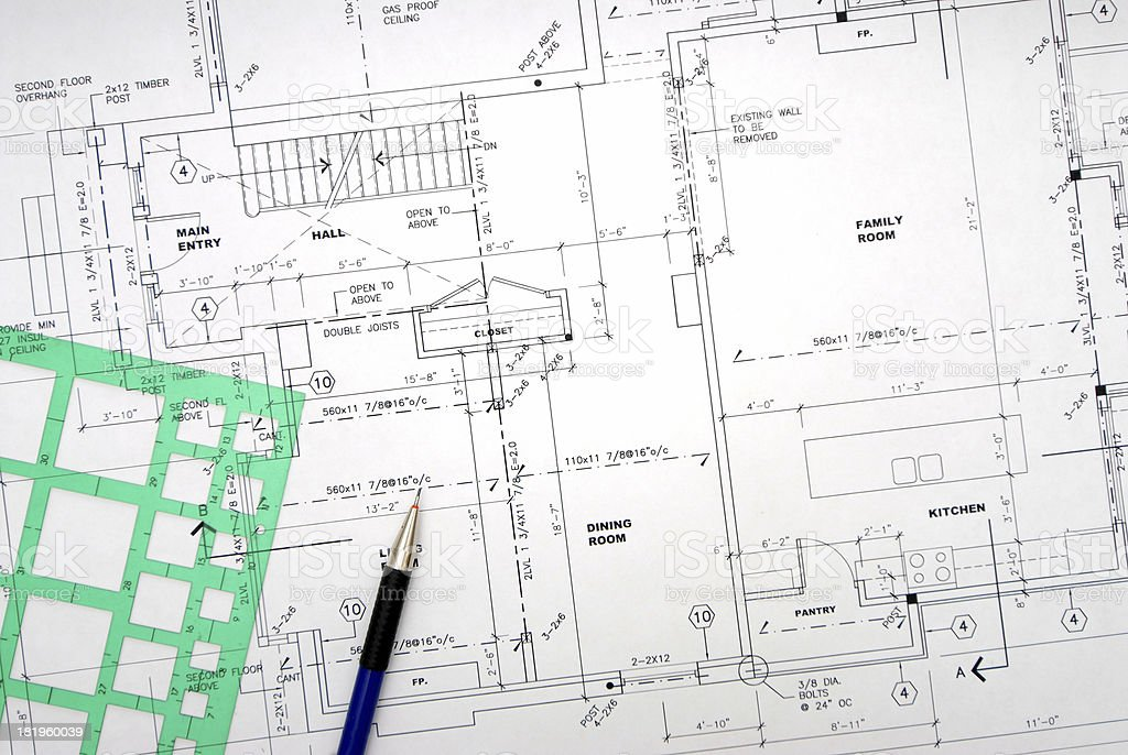 architectural drawings 90 stock photo