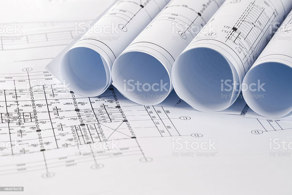 architectural drawings closeup stock photo