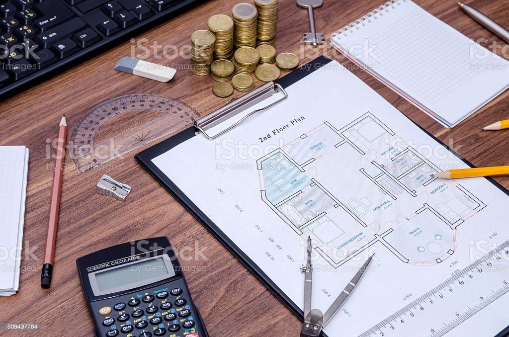 Architectural Drawings With Keyboard Calculator Notepad Pen