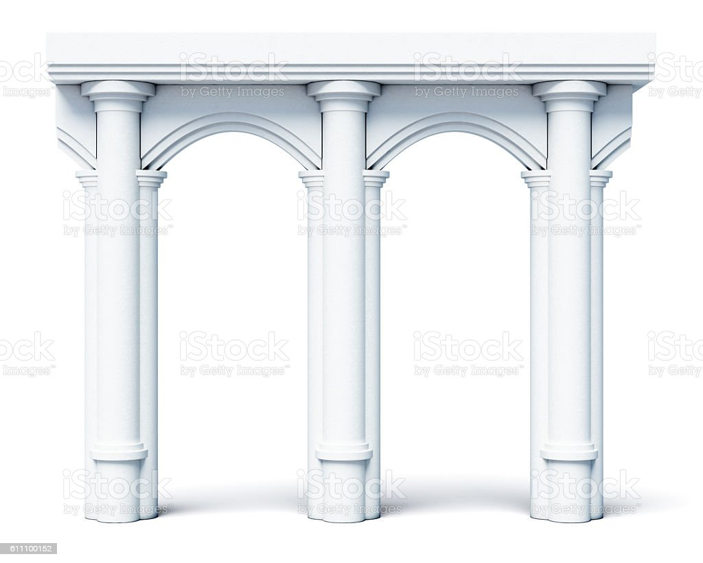 Architectural elements, columns, arches, isolated on white backg stock photo