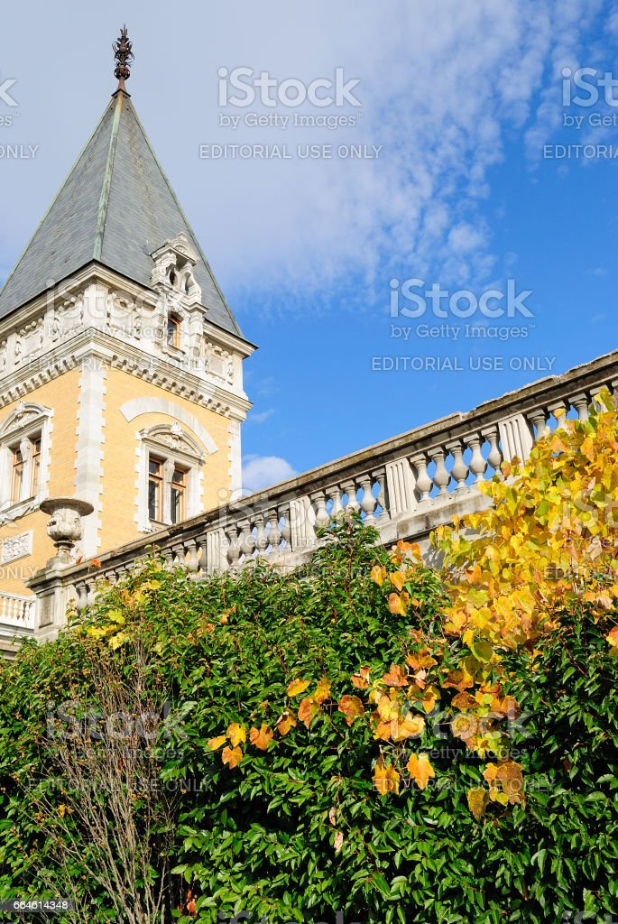 Yalta, Ukraine - November 16, 2009: Architectural elements. The Massandrovsky palace of the emperor Alexander III is located in the Top Massandra on the Southern coast of the Crimea. stock photo