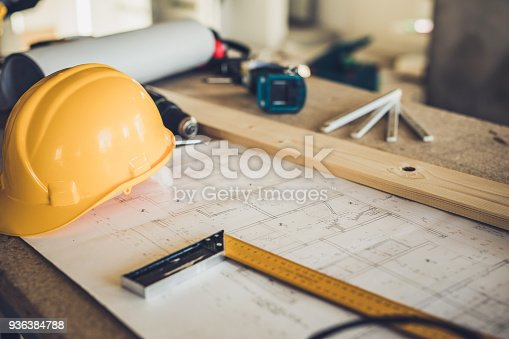 Manual worker's equipment at construction site without people.
