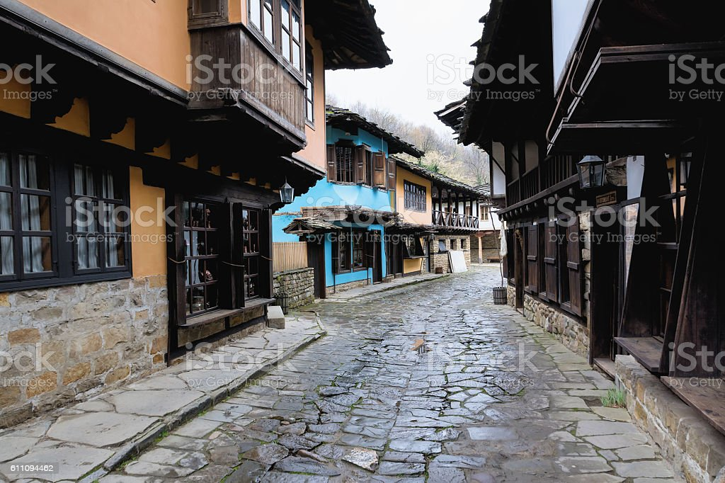 Architectural ethnographic complex Etara, Bulgaria stock photo