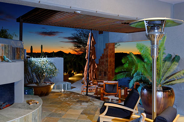 Architectural features in contemporary style residential luxury home at sunset stock photo