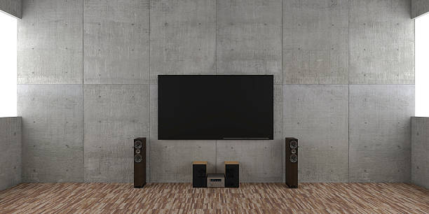 Architectural interior concept with TV set and hi-fi Architectural interior concept with TV set and hi-fi. stereo stock pictures, royalty-free photos & images