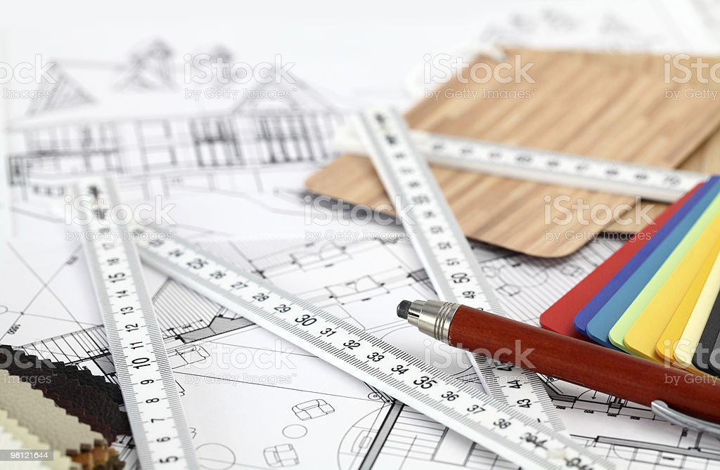 architectural materials & drawings royalty-free stock photo