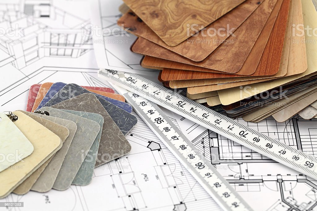 architectural materials, ruler, blueprints royalty-free stock photo