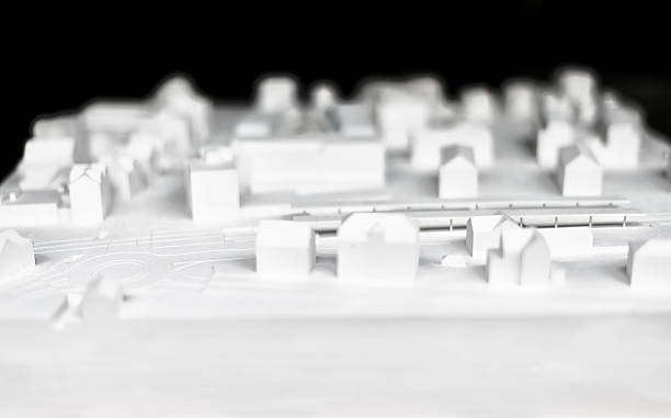 architectural model of a city stock photo
