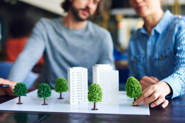 Architectural model on the office table stock photo