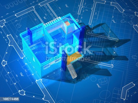 istock Architectural Model-Interior Blueprint 168274488