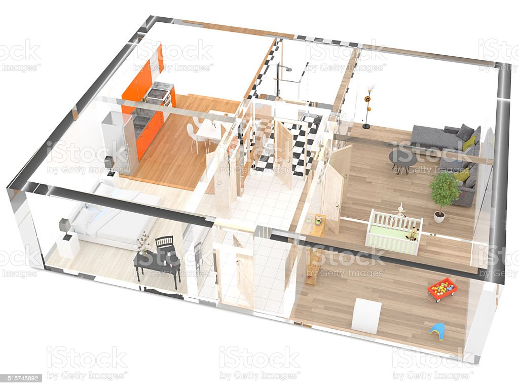 Architectural models of transparent house stock photo
