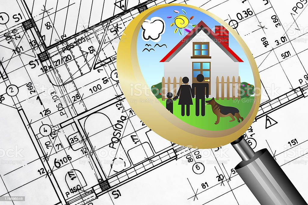 architectural plan blueprint magnifying glass lens happy family dream house royalty-free stock photo