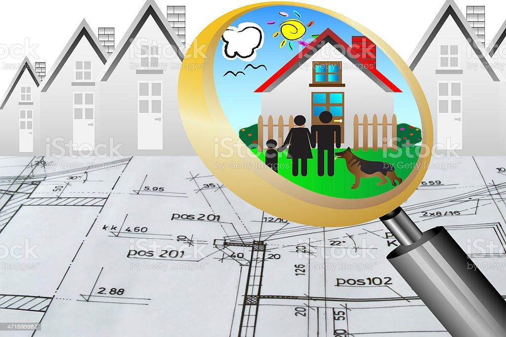 architectural plan blueprint real estate concept happy family dream house royalty-free stock photo