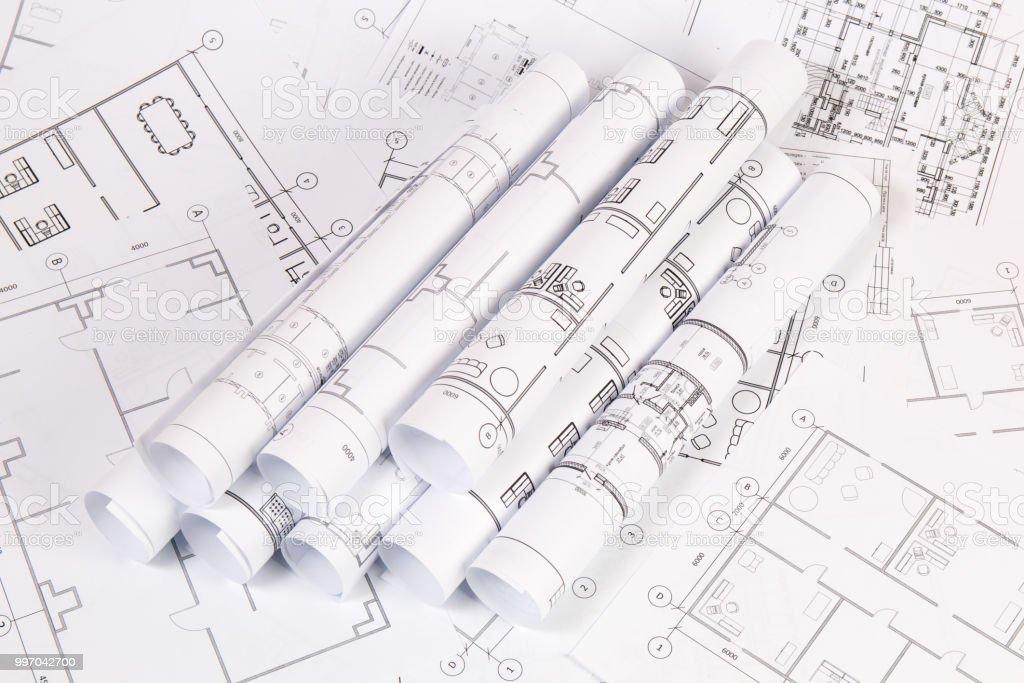 Architekturplan Engineeringhauszeichnungen Und Bauplane Stock