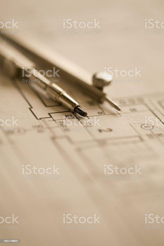 Architectural plan royalty-free stock photo