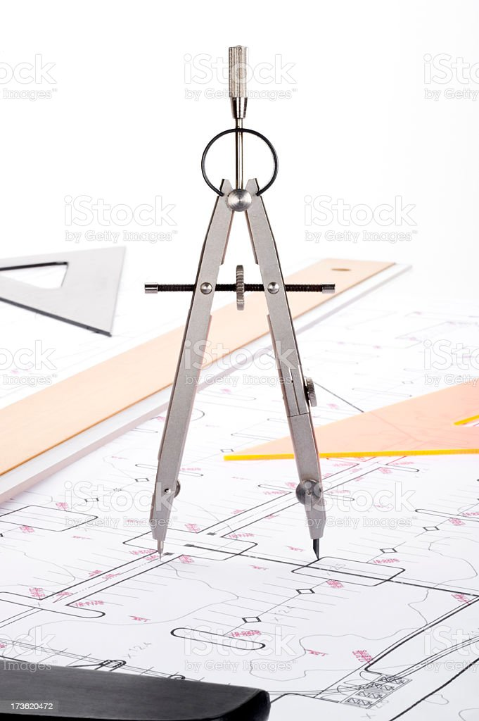 Architectural Plans and Equipment royalty-free stock photo