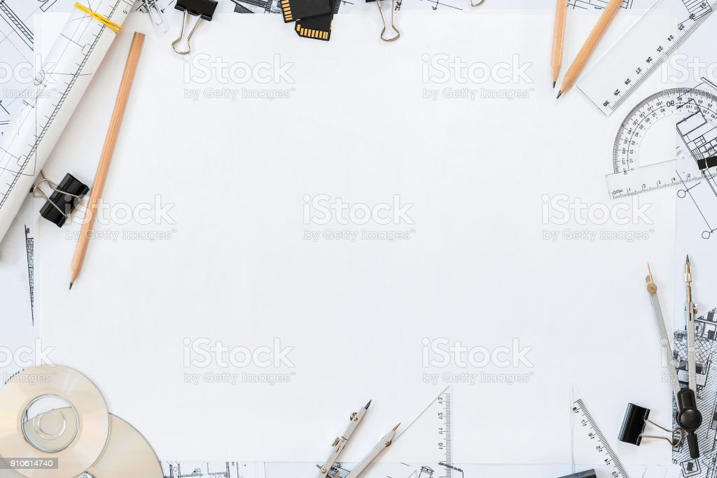 Architectural plans, pencil and ruler on the table. Place for your text stock photo