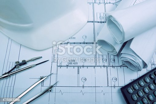 613651130 istock photo Architectural project, blueprints. Engineering tools 475583056