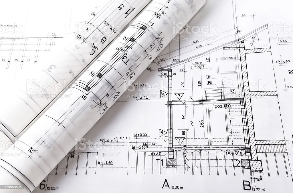 Architectural project drawing rolls and plans blueprints royalty-free stock photo
