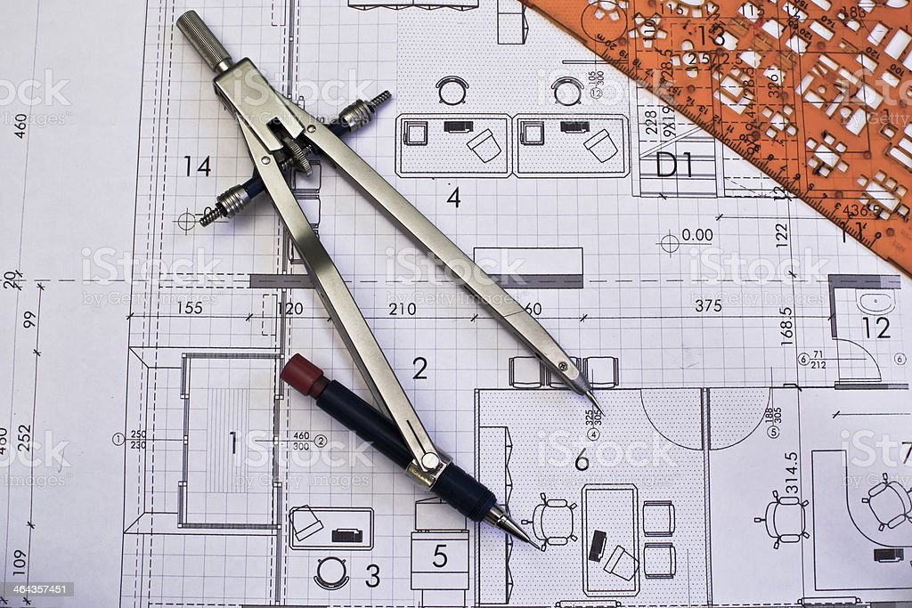Architectural project drawing rolls and plans blueprints stock photo