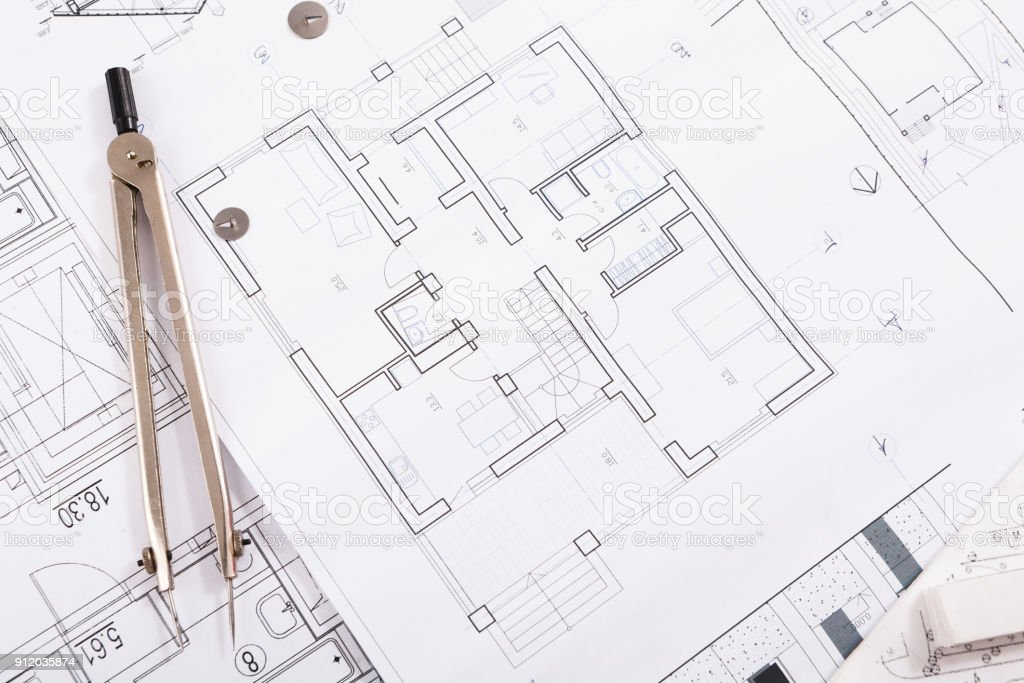 Architectural project, engineering tools on table. stock photo