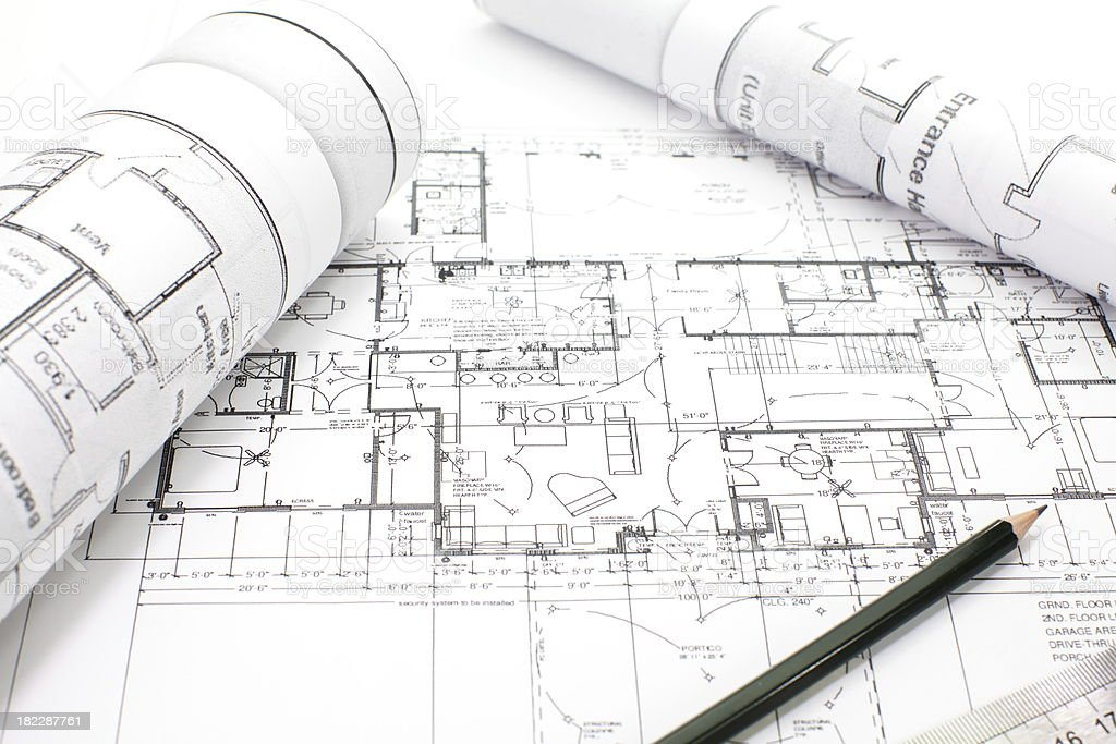 Architectural project on paper royalty-free stock photo