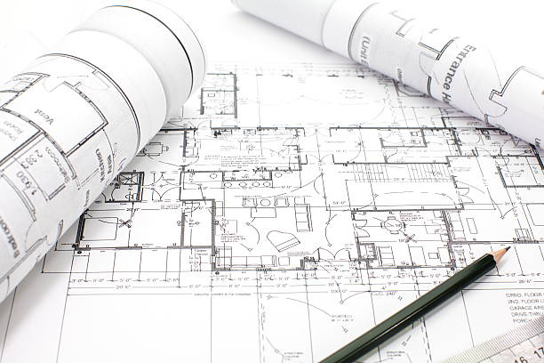 Architectural project on paper stock photo