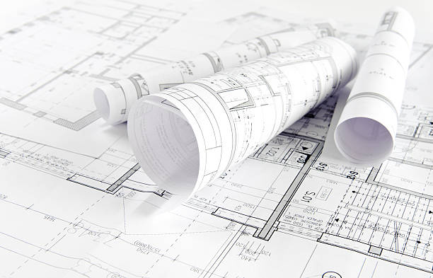 Architectural project Part of architectural project on paper plan document stock pictures, royalty-free photos & images