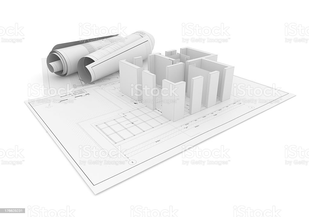 Architectural Project Plan on White Background with Clipping Path royalty-free stock photo