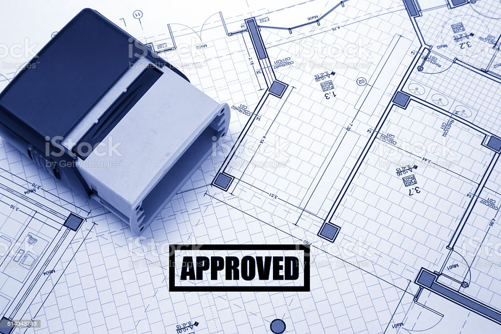 Architectural project stamped with approved stock photo