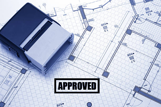 architectural project stamped with approved - permit stock photos and pictures