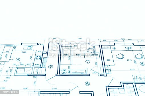 istock architectural project, technical drawing, construction plan blue 532860992
