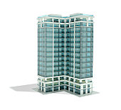High detailed architectural rendering of an office building with glass surfaces on a white background.