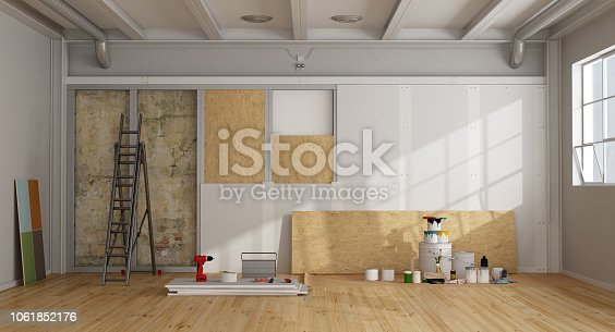 architectural restoration and insulation of an old wall in a loft and selection of the color swatch - 3d rendering Note: the room does not exist in reality, Property model is not necessary