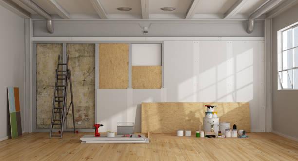 architectural restoration and insulation of an old wall - gips materiał budowlany zdjęcia i obrazy z banku zdjęć