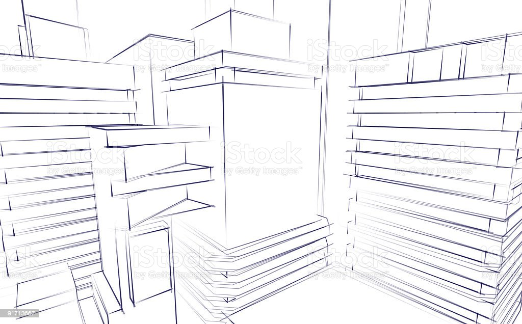 Architectural Sketch Background stock photo