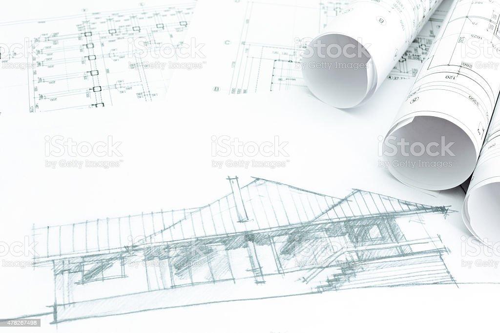 Plan De Dibujo Arquitectonico Con Blueprint Casa Fotografia De