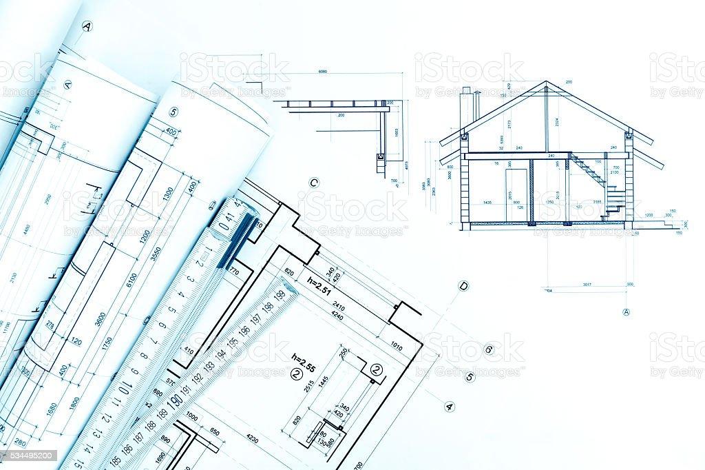 Fotografia De Arquitectonico Con Dibujos Tecnicos Y Regla Plegable