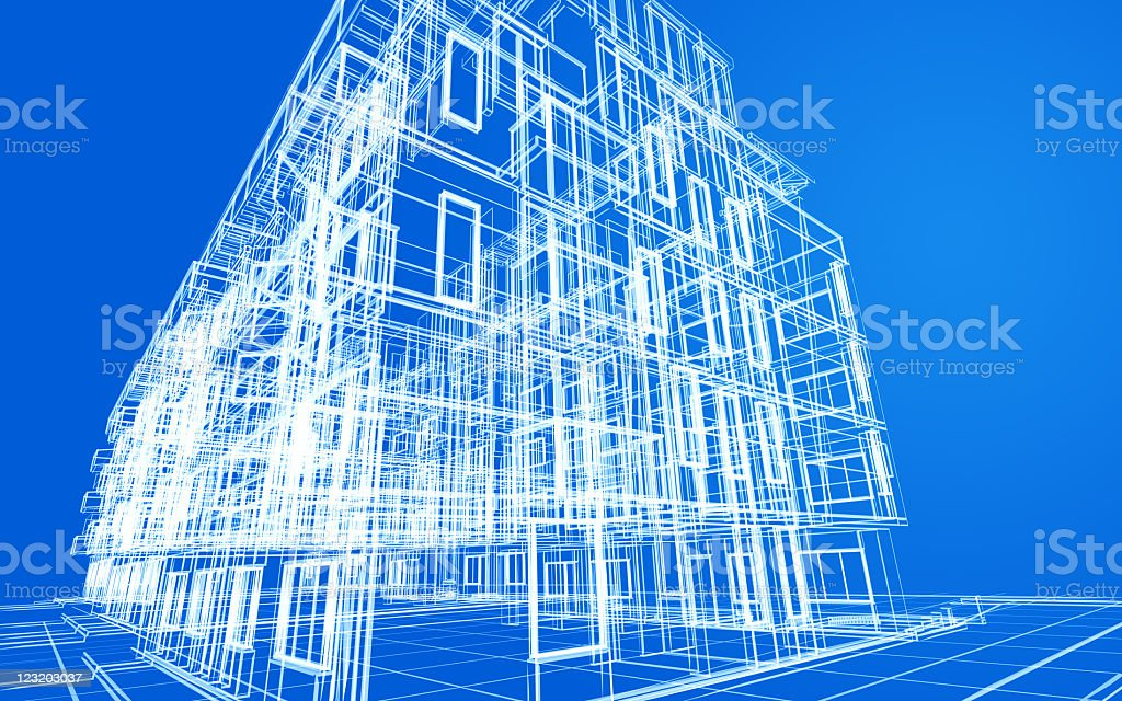 Architectural wireframe blueprint royalty-free stock photo