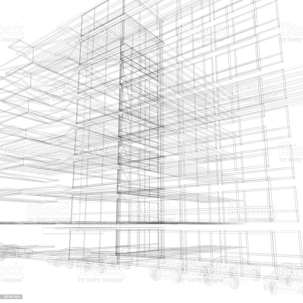 Architectural wireframe (car parking) royalty-free stock photo