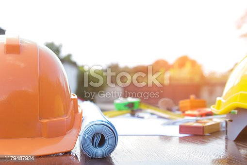 Architectural work site desk background construction project ideas concept, With drawing equipment