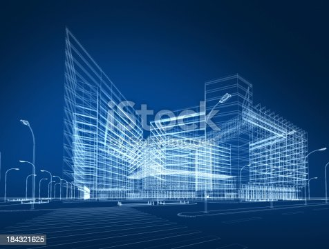 istock 3D architecture abstract 184321625